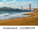 sunset on baker s beach with... | Shutterstock . vector #1112889149