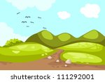 illustration of meadow landscape | Shutterstock .eps vector #111292001