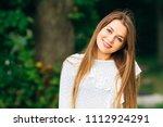 pretty girl portrait with... | Shutterstock . vector #1112924291