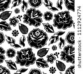 graphic floral seamless pattern.... | Shutterstock .eps vector #1112924774