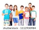 little kids at school isolated... | Shutterstock . vector #1112930984