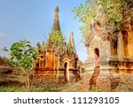 The famous ancient ruin temples of Indein in Myanmar, Asia - stock photo
