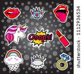 fashion patch badges with lips  ... | Shutterstock . vector #1112936534