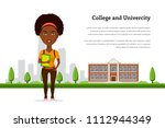 picture of student girl... | Shutterstock .eps vector #1112944349