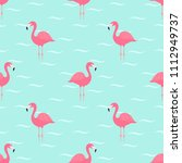 flamingos in water. seamless... | Shutterstock .eps vector #1112949737