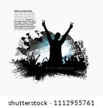 crowd with raised hands at... | Shutterstock .eps vector #1112955761