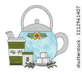 teapot ceramic paper cup tea... | Shutterstock .eps vector #1112961407
