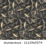 black leather tiles with gold... | Shutterstock . vector #1112965574
