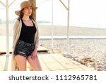 beautiful young stylish woman... | Shutterstock . vector #1112965781