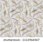 white leather tiles with gold... | Shutterstock . vector #1112966567