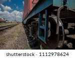 wheel train while parked at the ... | Shutterstock . vector #1112978624