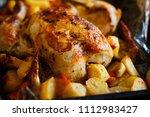 freshly cooked chicken and... | Shutterstock . vector #1112983427