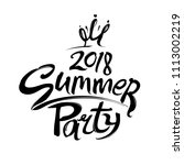 summer party 2018. logo for the ... | Shutterstock .eps vector #1113002219