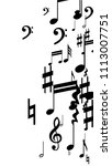 black musical notes on white...   Shutterstock .eps vector #1113007751