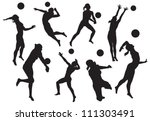 vector silhouettes of women's...