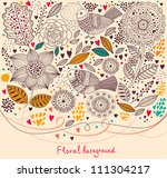 floral pattern with birds.... | Shutterstock .eps vector #111304217