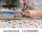 workplace of the mosaic master  ... | Shutterstock . vector #1113066881