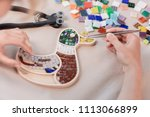 workplace of the mosaic master  ... | Shutterstock . vector #1113066899