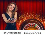 collage of casino images with... | Shutterstock . vector #1113067781