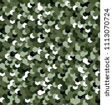 seamless camouflage in green... | Shutterstock .eps vector #1113070724