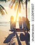 surfboard and palm tree on...   Shutterstock . vector #1113095837