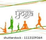 international yoga day. | Shutterstock .eps vector #1113109364