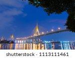 bhumibol bridge at night. the... | Shutterstock . vector #1113111461