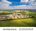 aerial view of a big biogas... | Shutterstock . vector #1113131414