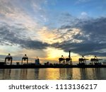 container ship in export and... | Shutterstock . vector #1113136217
