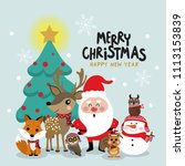 santa claus  deer  bear  fox ... | Shutterstock .eps vector #1113153839