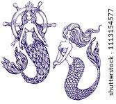 mermaid line art collection set ... | Shutterstock .eps vector #1113154577
