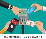 hands with transport card ... | Shutterstock .eps vector #1113162641