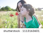 a boy is looking at a flower. a ...   Shutterstock . vector #1113163601