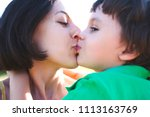 mother hugs the boy. a woman is ...   Shutterstock . vector #1113163769