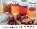 kombucha second fermented fruit ... | Shutterstock . vector #1113165755
