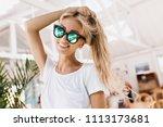 ecstatic white female model in... | Shutterstock . vector #1113173681