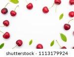 isolated cherries in white... | Shutterstock . vector #1113179924