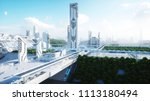 futuristic city  town. the... | Shutterstock . vector #1113180494