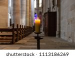 Candlelight In Church Nave...