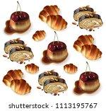 sweet desserts pattern vector.... | Shutterstock .eps vector #1113195767