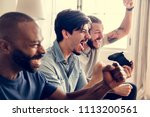 group of friends playing game... | Shutterstock . vector #1113200561
