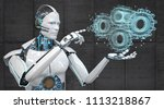 the robot designs a machine... | Shutterstock . vector #1113218867