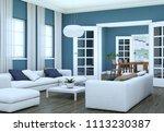 modern bright living room... | Shutterstock . vector #1113230387