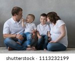 family portrait  father mother...   Shutterstock . vector #1113232199