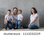 family portrait  father mother...   Shutterstock . vector #1113232229