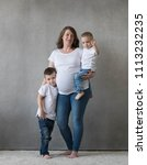 mother pregnant with two...   Shutterstock . vector #1113232235