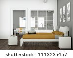 modern bedroom with 3... | Shutterstock . vector #1113235457