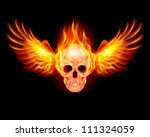 Raster version. Flaming Skull with Fire Wings. Illustration on black - stock photo