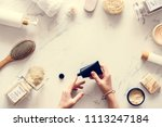 flat lay of spa treatment set | Shutterstock . vector #1113247184