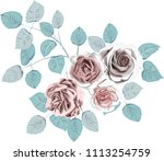 ice roses _ stylized vector... | Shutterstock .eps vector #1113254759